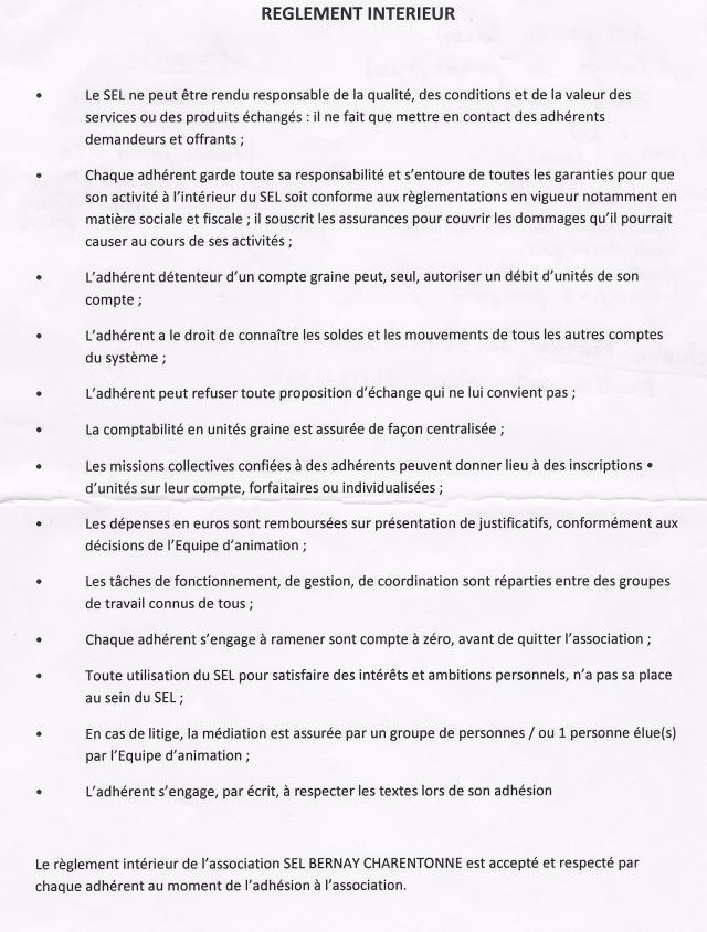 Règlement intérieur SEL Bernay Charentonne